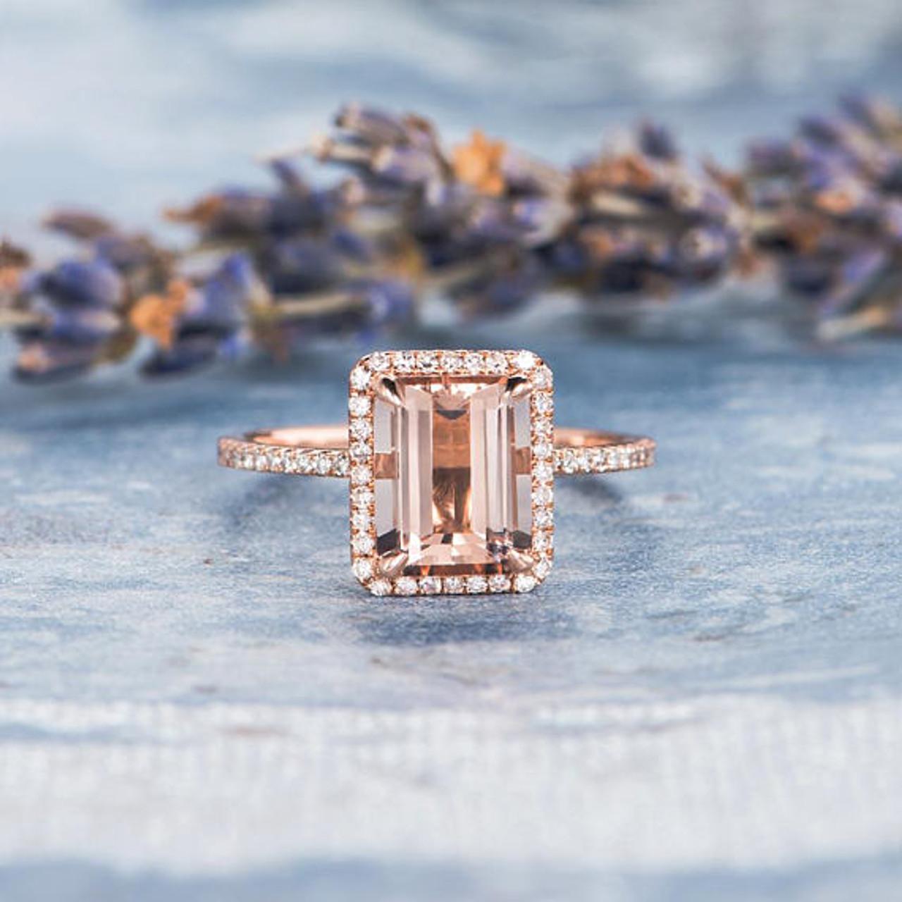Emerald Cut Morganite Engagement Ring Rose Gold Diamond Halo ...