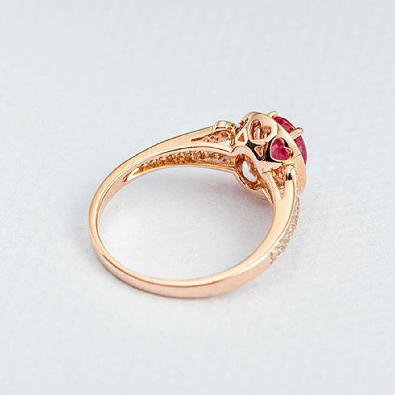 Rose Gold Engagement Ring Oval Cut Ruby Ring With Diamond Split