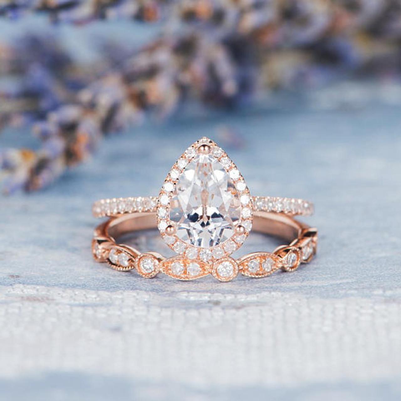 Ladies 14K Rose Gold Over Oval Diamond Engagement Ring Wedding Bridal Set