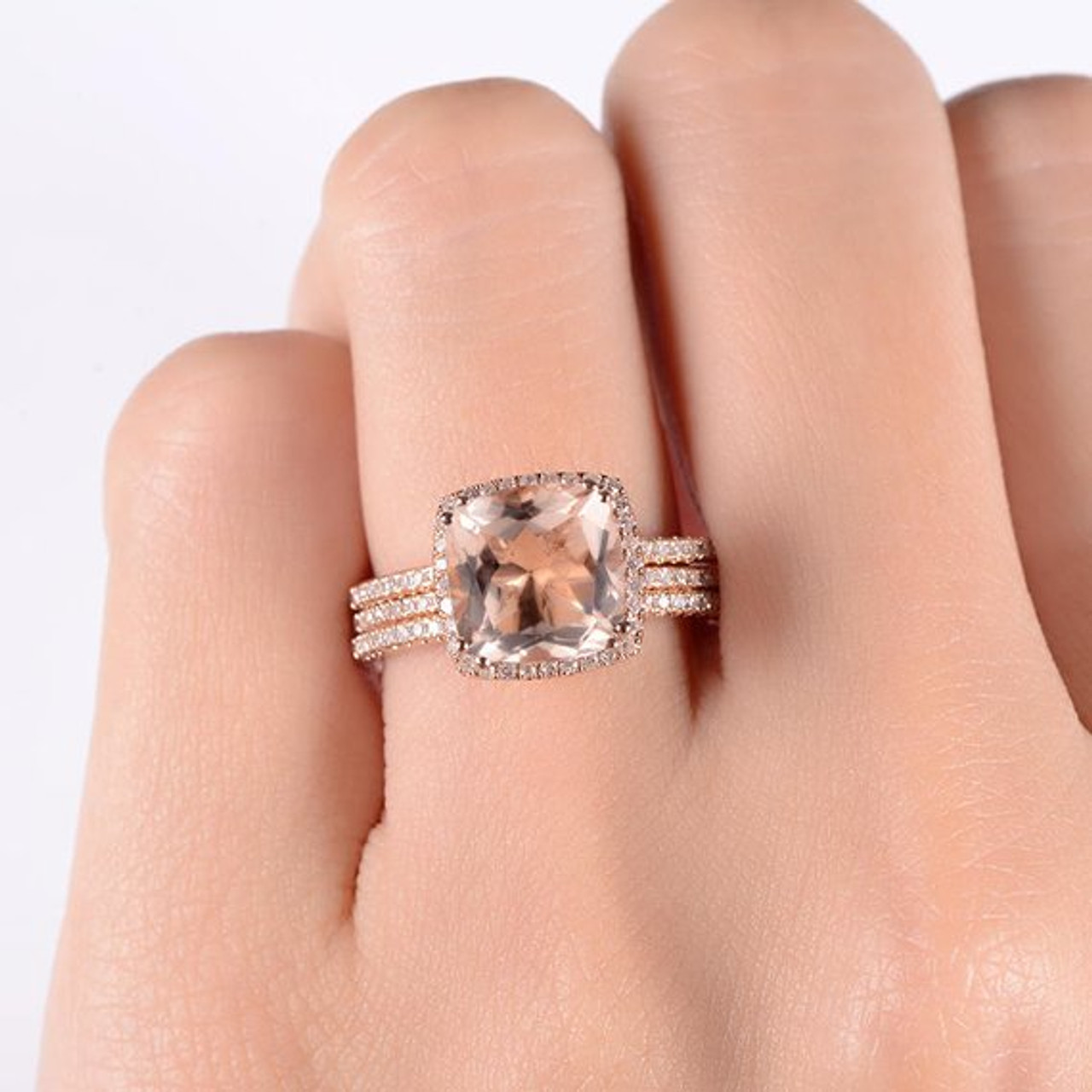 Rose Gold 9mm Cushion Cut Diamond Wedding Morganite Ring Set