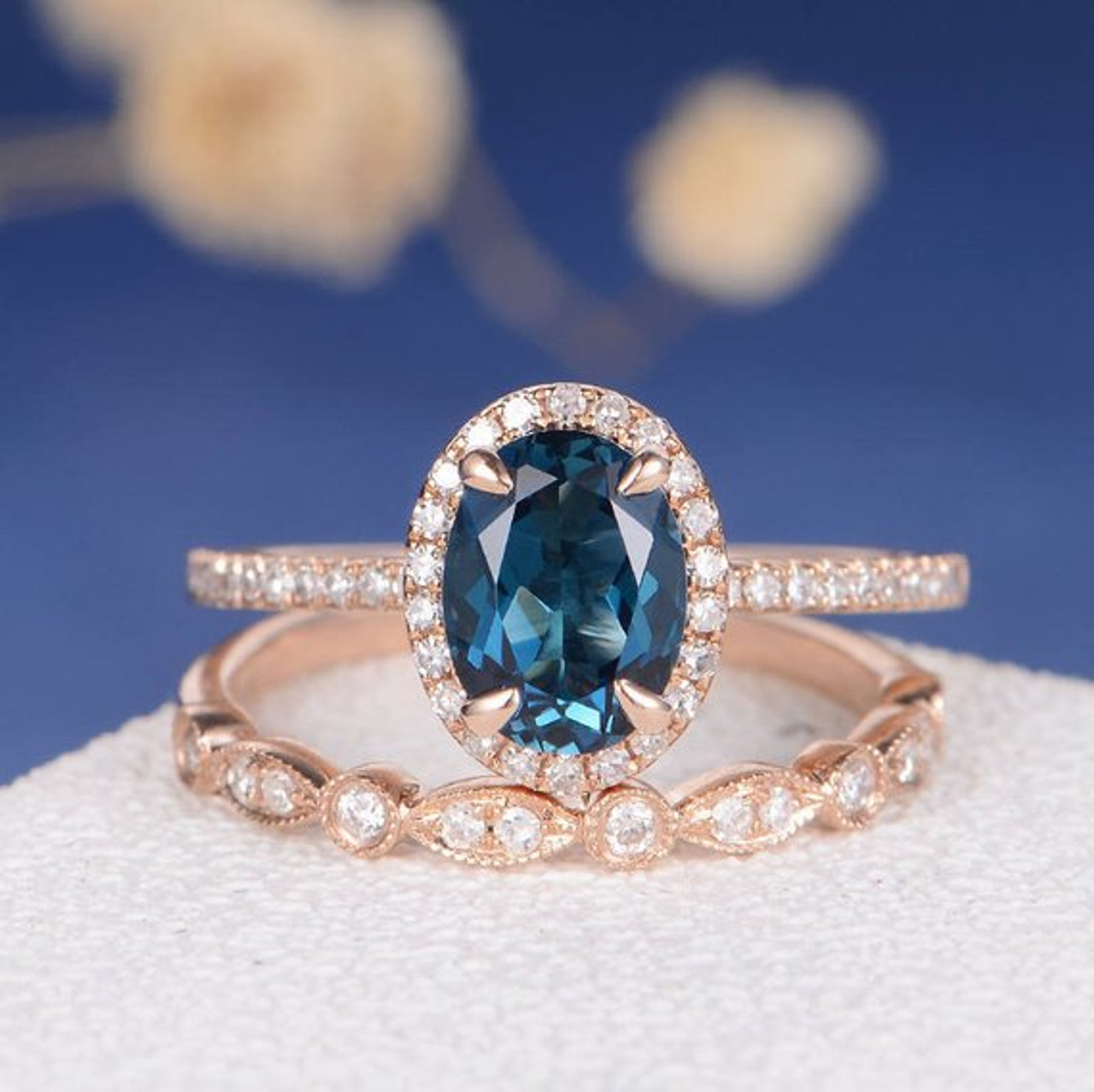 6 8mm Oval Cut London Blue Topaz Unique Engagement Ring Set