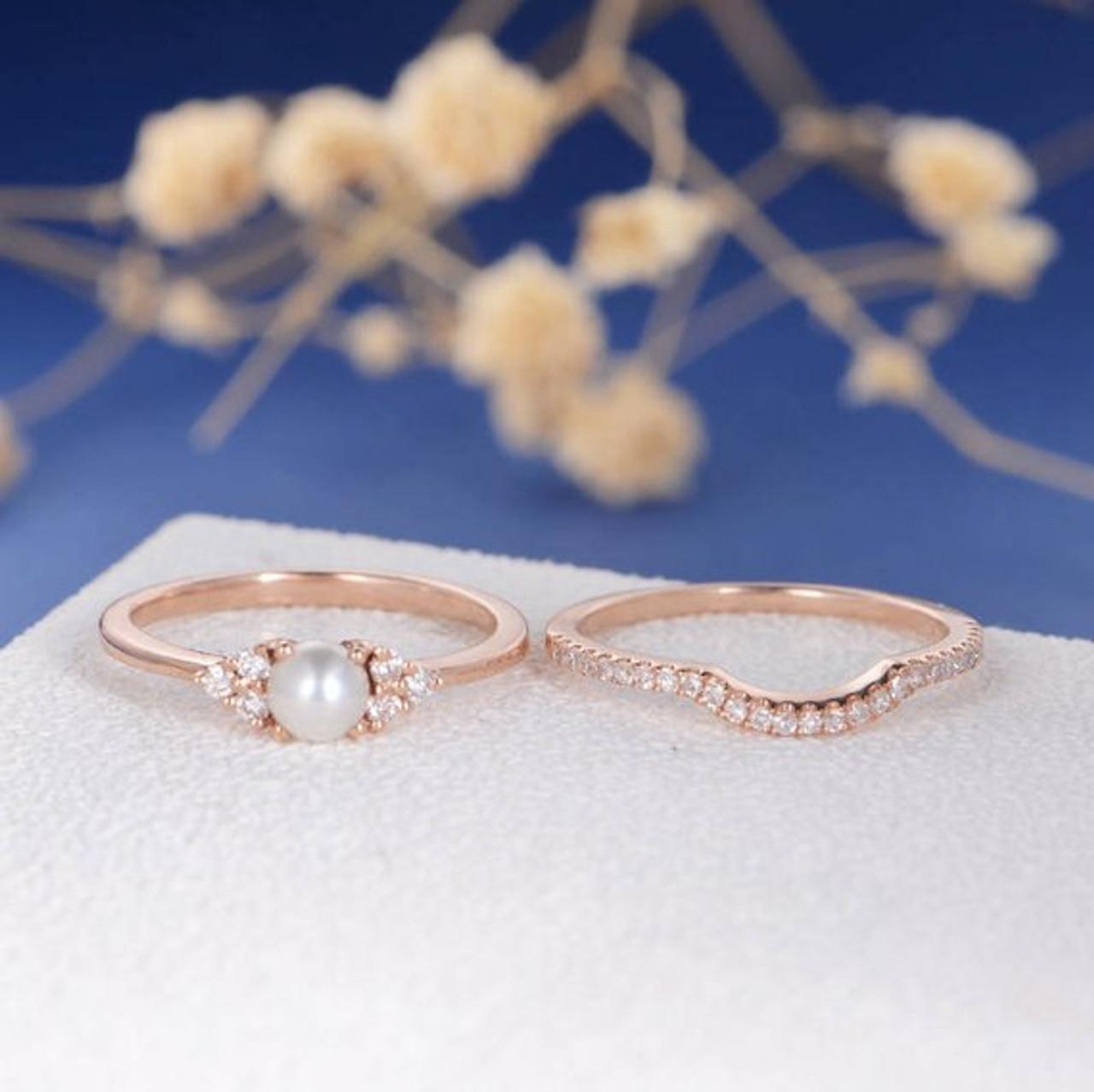 Pearl Engagement Ring Set Rose Gold Bridal Cluster Diamond Eternity