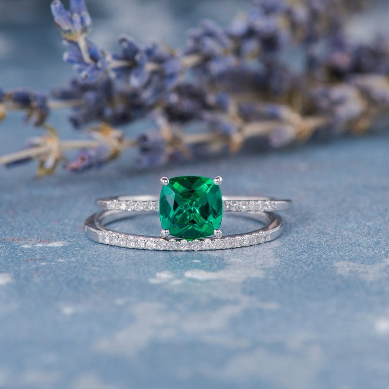 Cushion Cut Lab Emerald Stacking Thin Engagement Ring Set