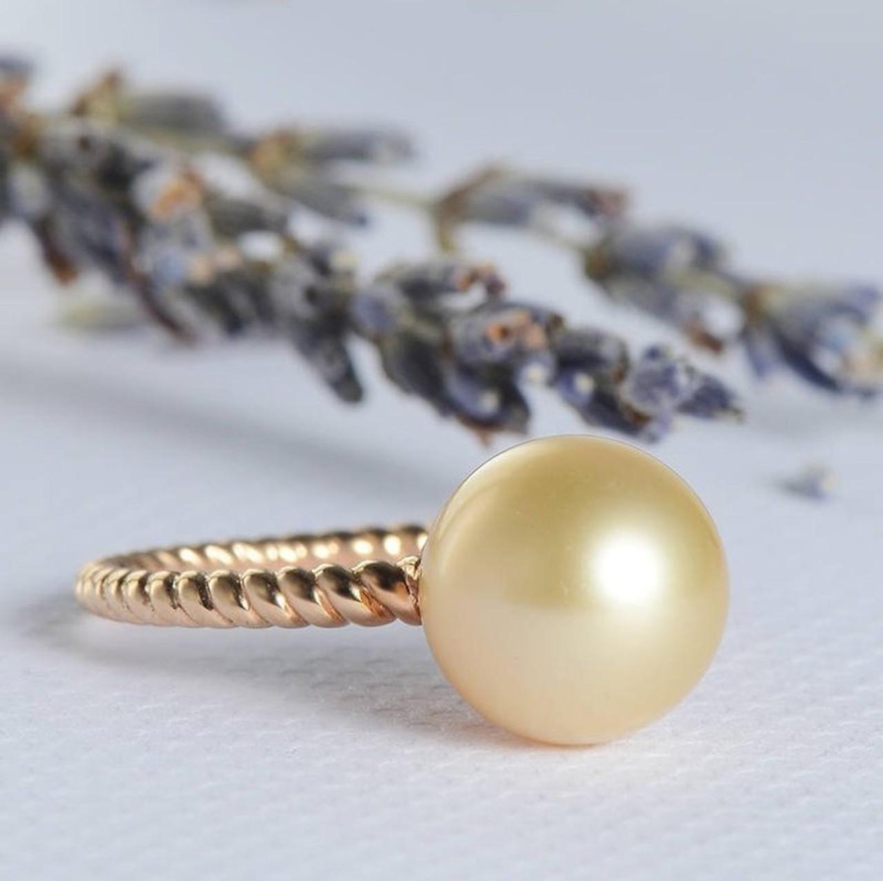 Pearl Wedding Rings.Pearl Engagement Ring Solitaire Simple Minimalist Twist Wedding Ring