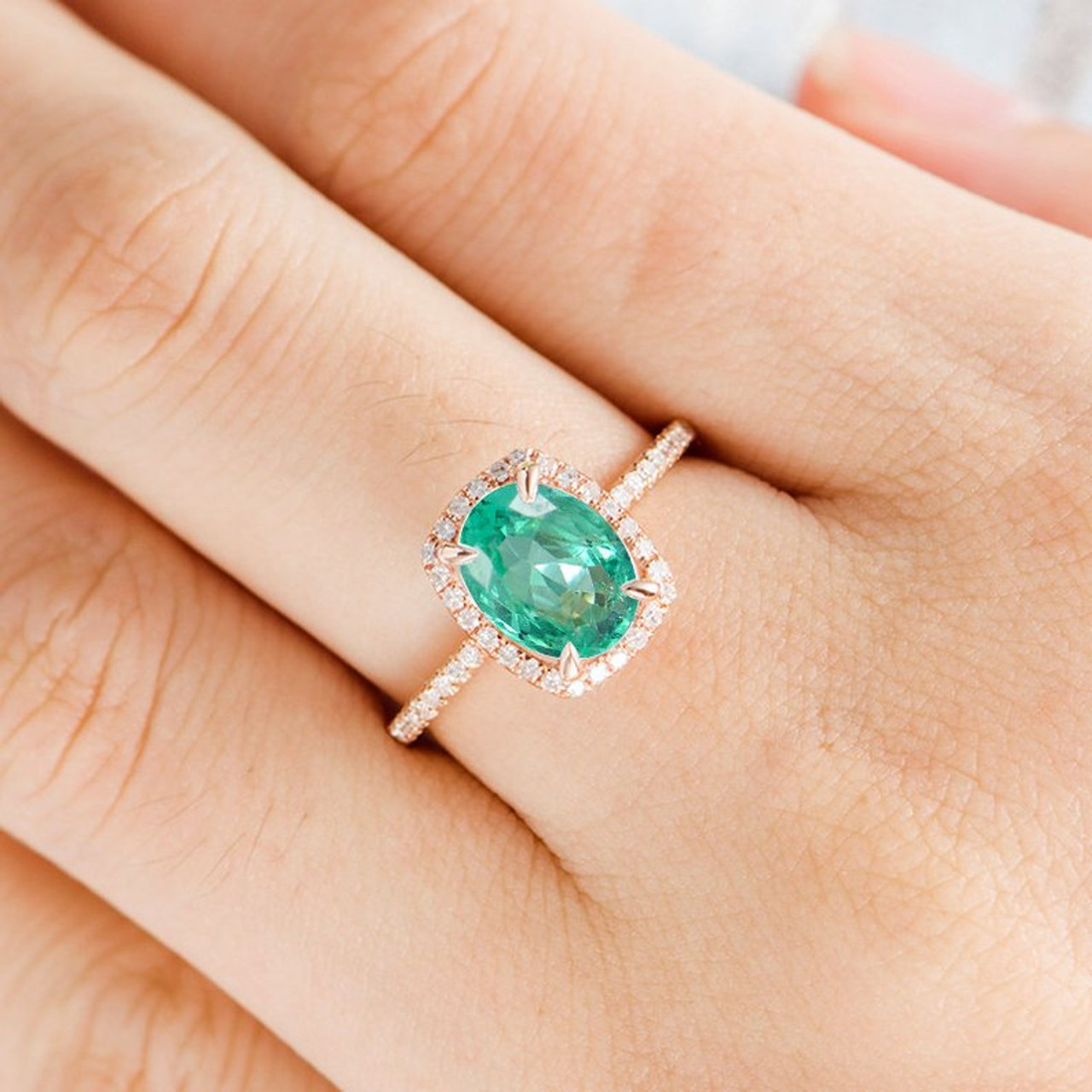 6x8mm Natural Emerald Engagement Ring Genuine Emerald Ring Oval Cut