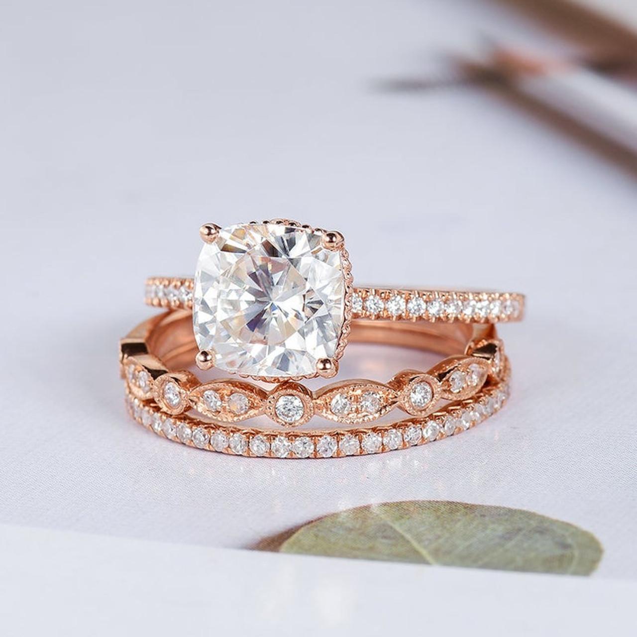 Cushion Cut Moissanite Engagement Rose Gold Bridal Ring Sets
