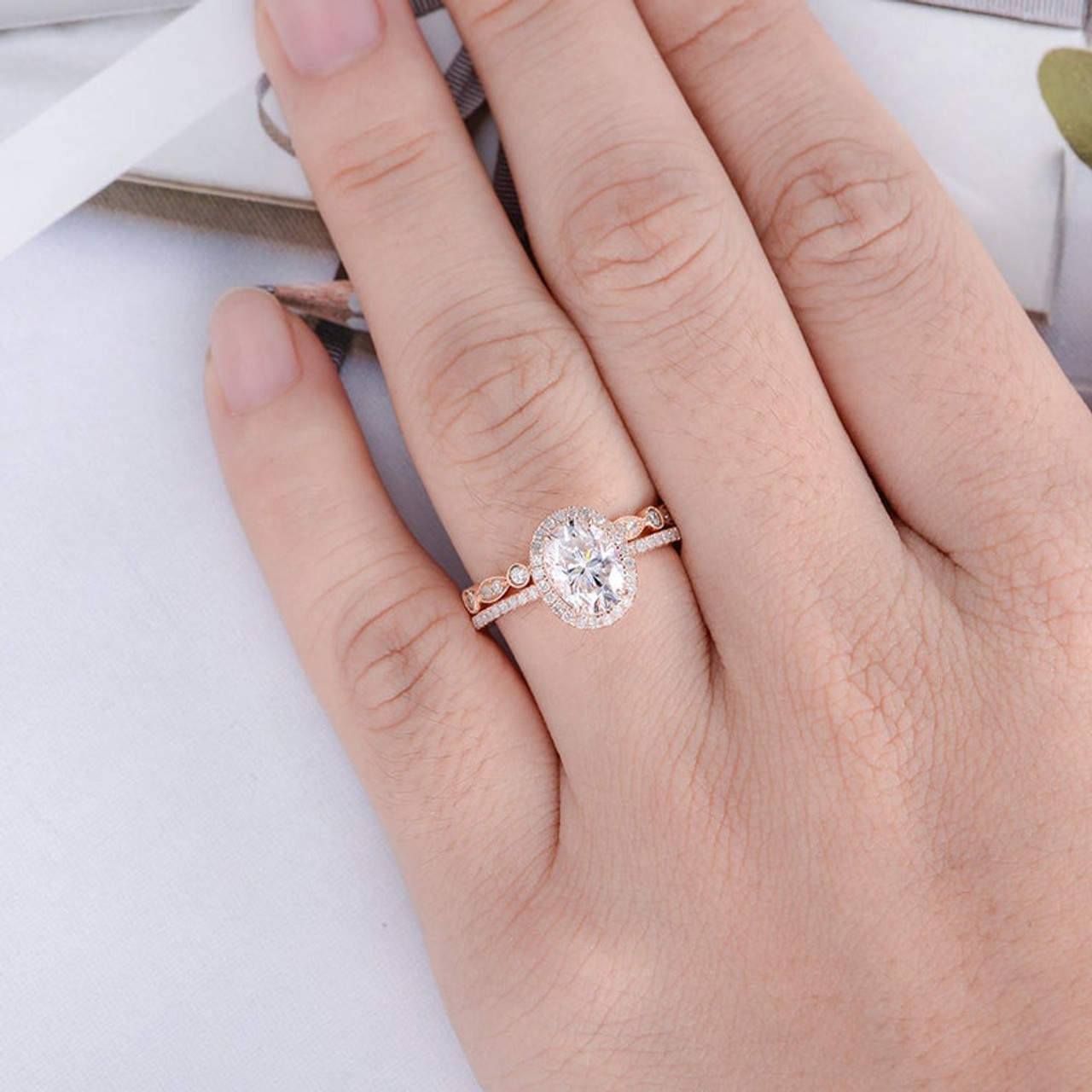 Oval Cut Moissanite Engagement Bridal Sets Rose Gold Wedding Ring Set