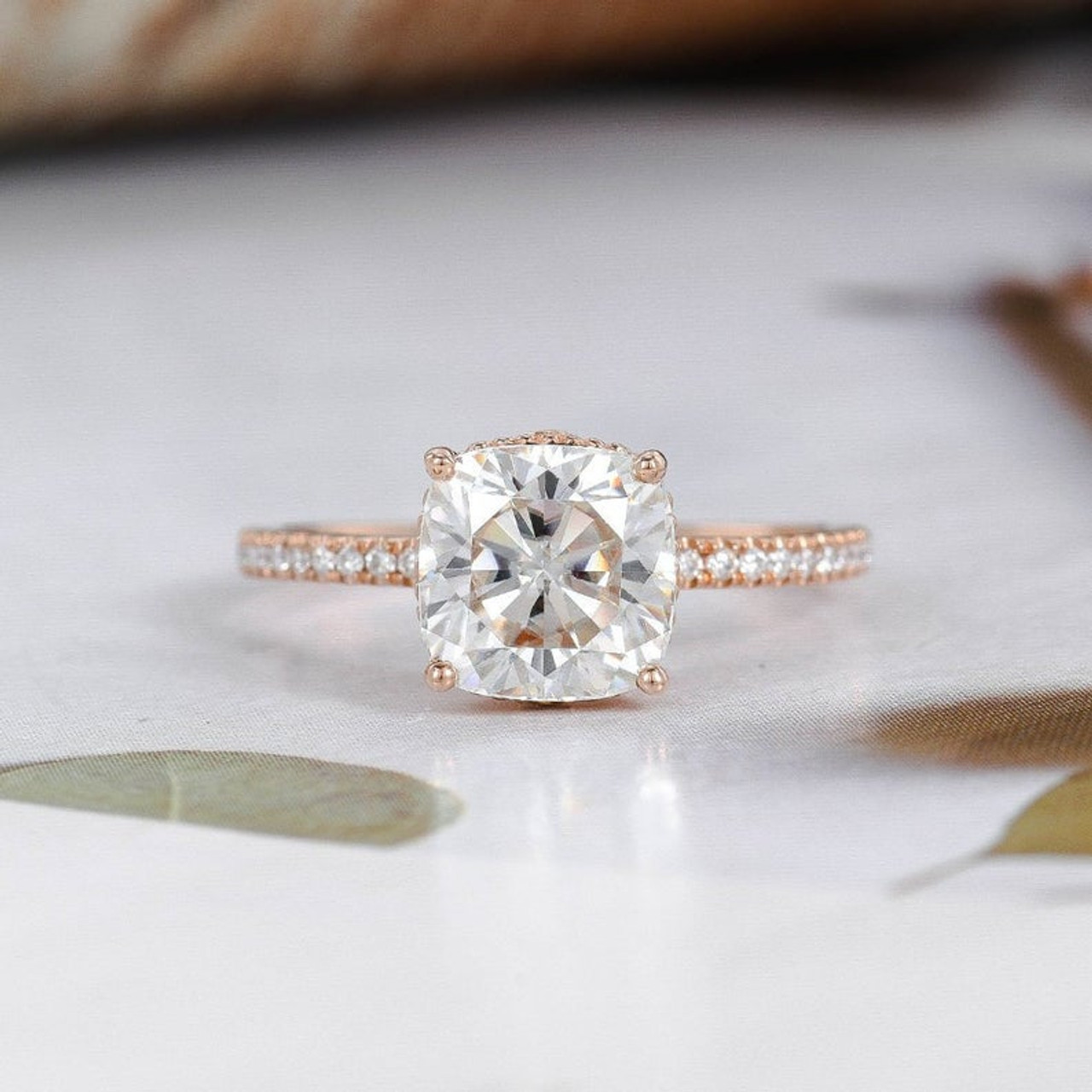 Cushion Cut Moissanite Engagement Ring Rose Gold Promise Ring