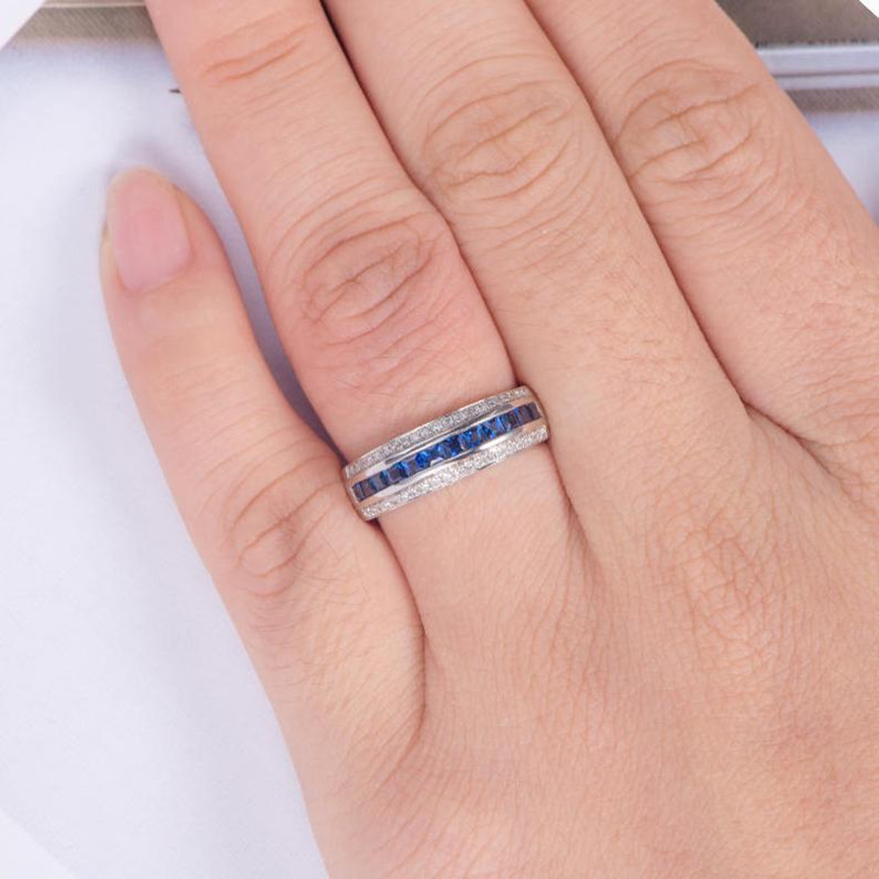This is a picture of Princess Cut Sapphire Wedding Band Men White Gold Diamond Half Eternity Band