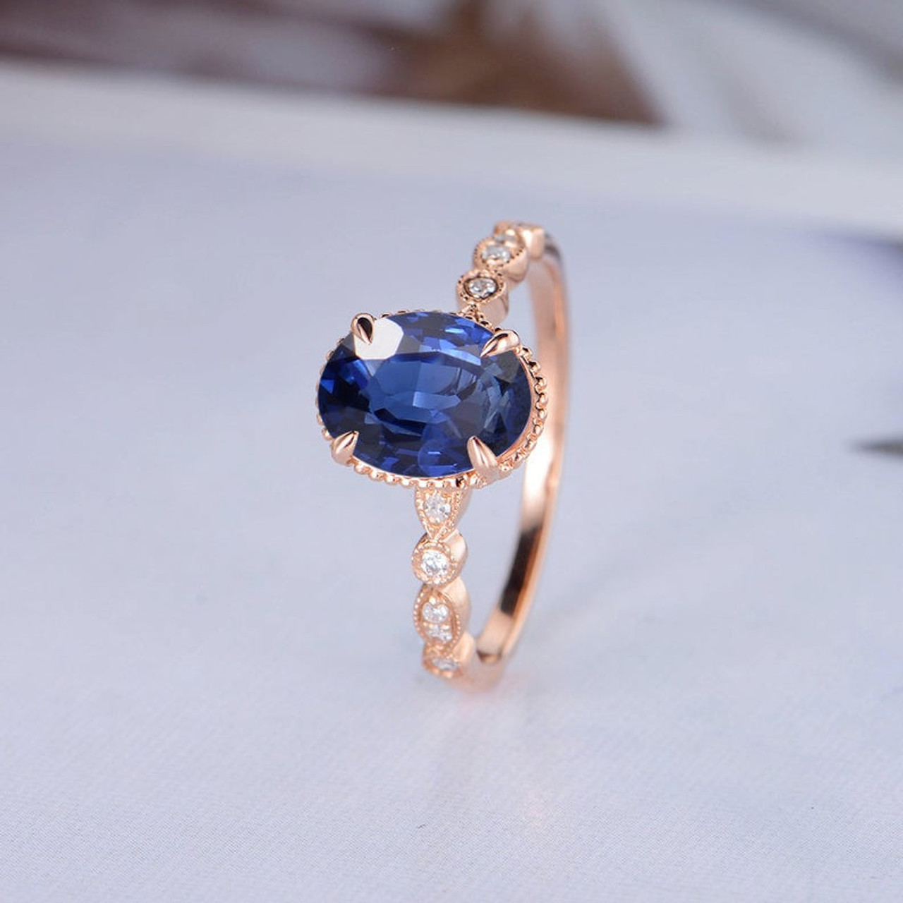 Oval Cut Lab Sapphire Engagement Ring Rose Gold Diamond Ring