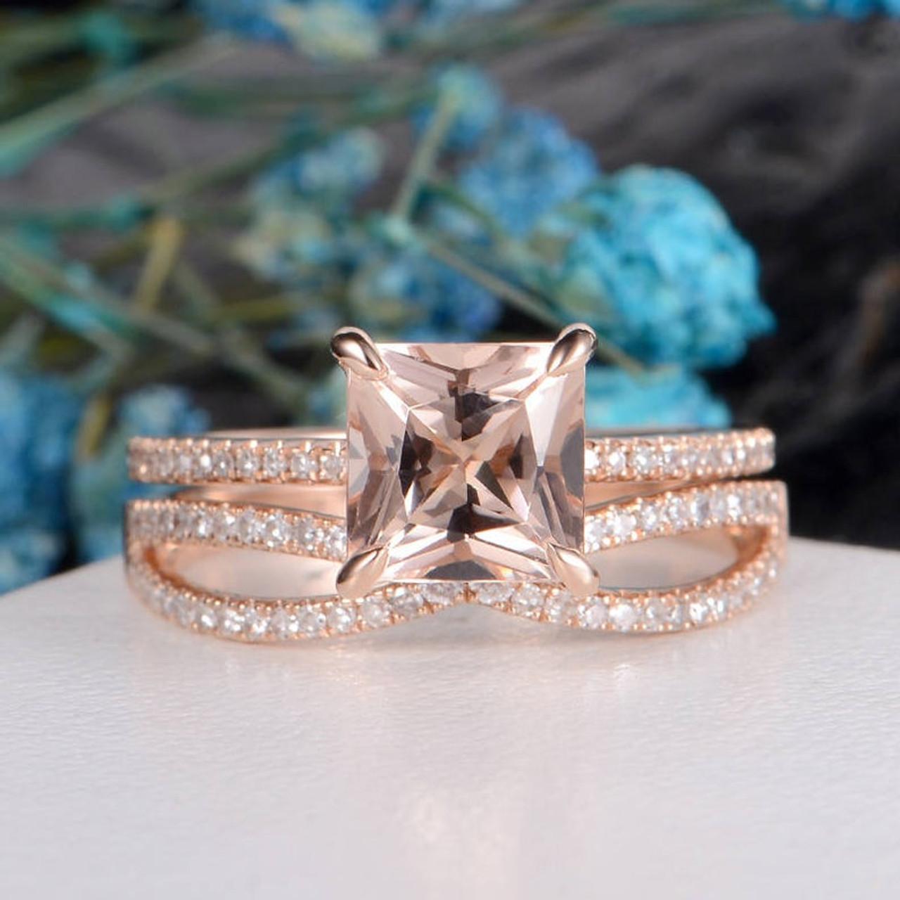 Princess Cut Morganite Engagement Ring Art Deco Morganite Ring Rose Gold Antique Wedding Band Women Diamond Eternity Promise Stacking 3pcs