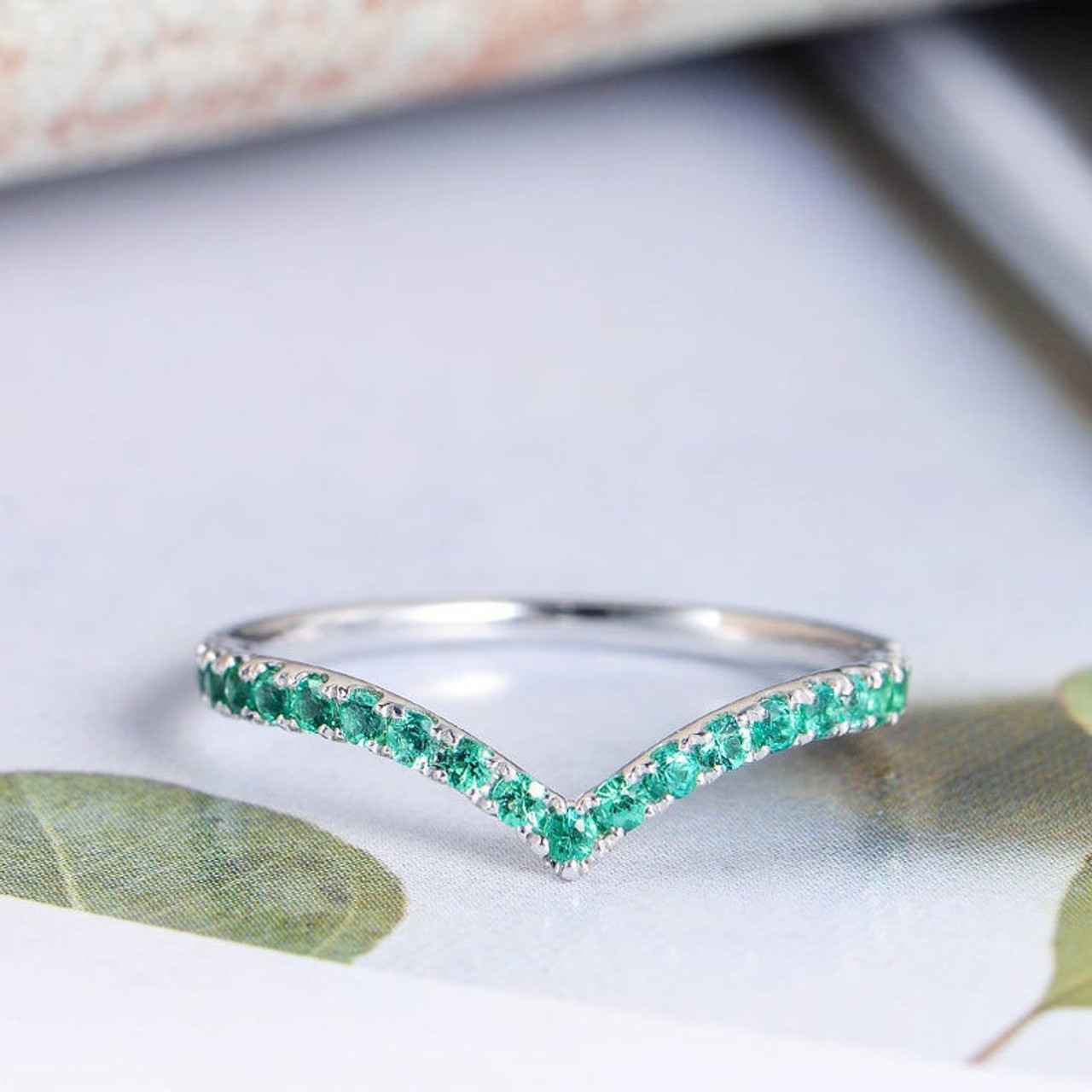It is just a photo of Curved Shaped Half Eternity Emerald Wedding Band