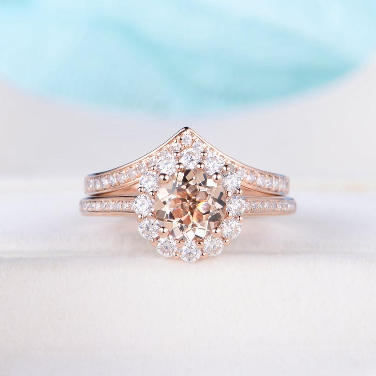 Morganite Rose Gold Ring Set Engagement Wedding Band Women Art