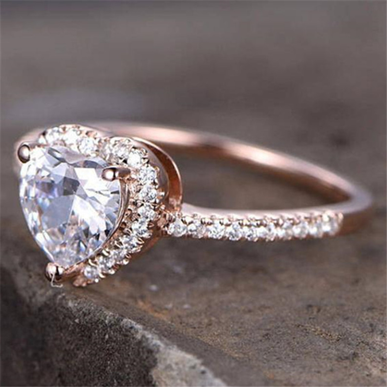 14K Solid Rose Gold CZ Cubic Zirconia Solitaire Engagement Promise Ring