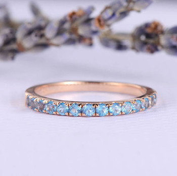 Blue Topaz Wedding Band Birthstone  Anniversary ring