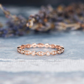 Rose Gold  Full Eternity Diamond Wedding Band