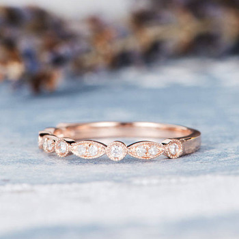 Wedding Band Rose Gold Ring Diamond Eternity Band