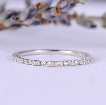 White Gold Full Eternity  Diamond Wedding Band Women Ring