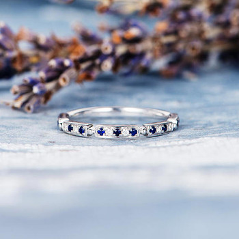 Sapphire Diamond White Gold  Promise Ring