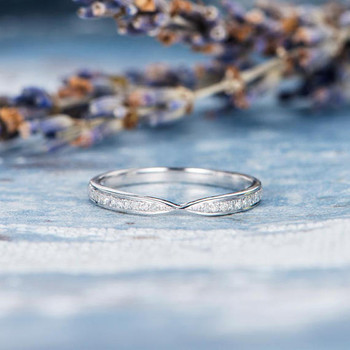 Diamond Half Eternity Wedding Band Stacking Ring