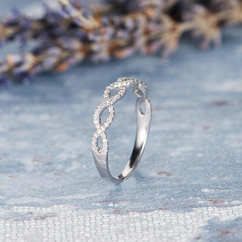 Cross Stacking  Unique Diamond Wedding White Gold Band