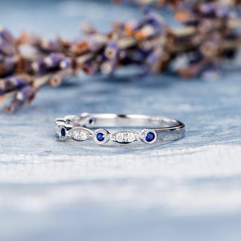 Sapphire Wedding Band Diamond White Gold Ring