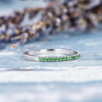 Antique Tsavorite Wedding Band White Gold Ring