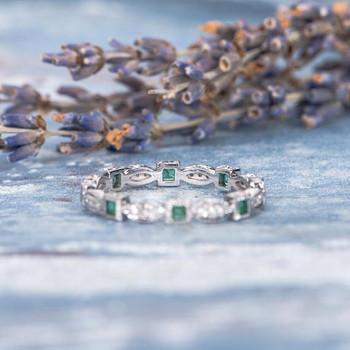 Antique Princess Cut Emerald  Diamond Wedding Band