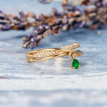 Unique Trinity Ring  Pear Shaped Emerald Diamond Wedding Ring