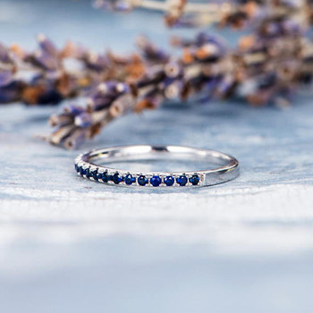 Antique Sapphire Wedding Band White Gold Ring