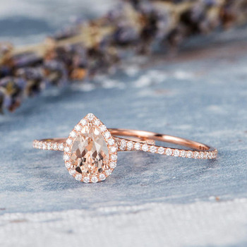 6*8mm Pear Shaped Morganite Wedding Bridal Set