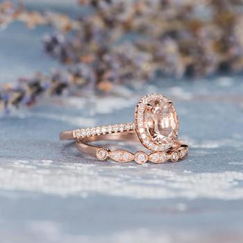6*8mm Oval Cut Morganite Bridal Set Wedding Rig Set