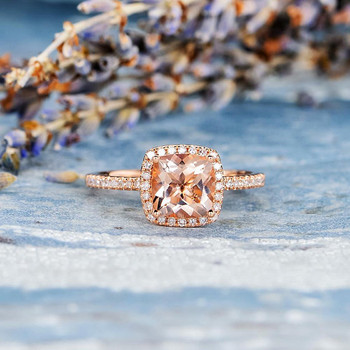 7mm Cushion Cut Bridal Wedding Morganite Ring