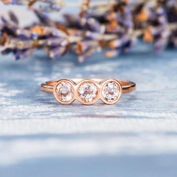 Three Stone Rose Gold 4mm Morganite Engagement Ring