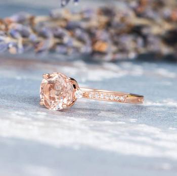 Antique 7mm Round Morganite Engagement Rose Gold Wedding