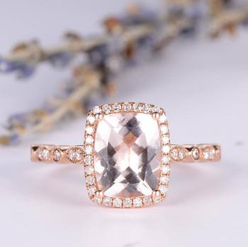 Art Deco 7*9mm Cushion Cut Morganite Engagement Ring