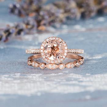 7mm Round Morganite Rose Gold Wedding Ring Set