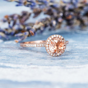 Rose Gold Engagement Ring 7mm Round Morganite Ring