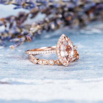 5*10mm Marquise Morganite Ring Set Engagement Ring Set