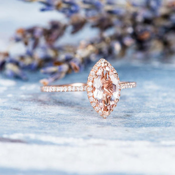 5*10mm  Marquise Morganite Ring Diamond Wedding Ring