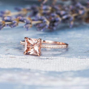 Unique Diamond 7mm Princess Cut Morganite Promise Ring