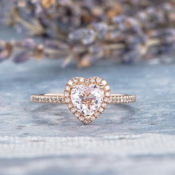 6mm Heart Shaped Morganite Ring Wedding Ring