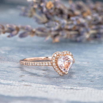 6mm Heart Shaped Morganite Ring Wedding Ring