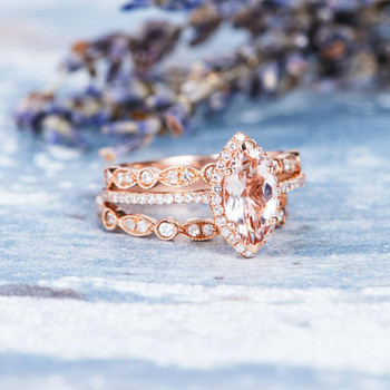 5*10mm Marquise Engagement Ring Morganite Ring Set