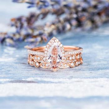 5*10mm Marquise Engagement Ring Morganite Ring Set