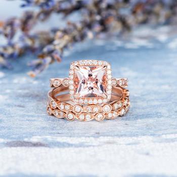 Art Deco 7mm Princess Cut Morganite Wedding ring set