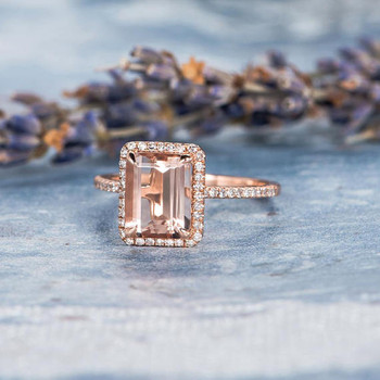 Diamond Halo 8*10mm Emerald Cut Engagement Ring