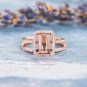 8*10mm Emerald Cut Morganite Diamond Halo Ring Set