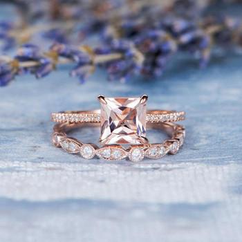 Art Deco Wedding Ring Set 7mm Princess Cut Morganite Set