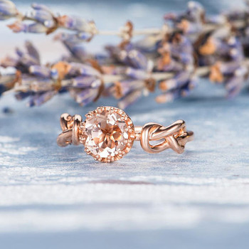 Solitaire Wedding 7mm Round Morganite Ring Engagement Ring